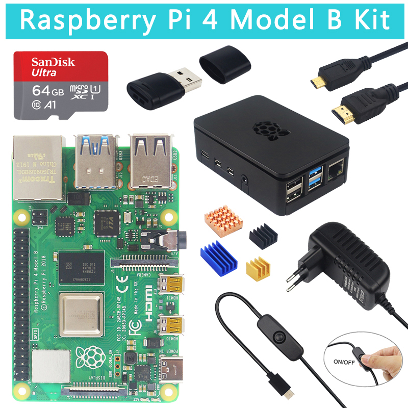 Original Raspberry Pi 4 Model B Kit + ABS Case + 32 64GB SD Card+ Switch Power Supply +Heat Sink + Micro HDMI For Raspberry Pi 4
