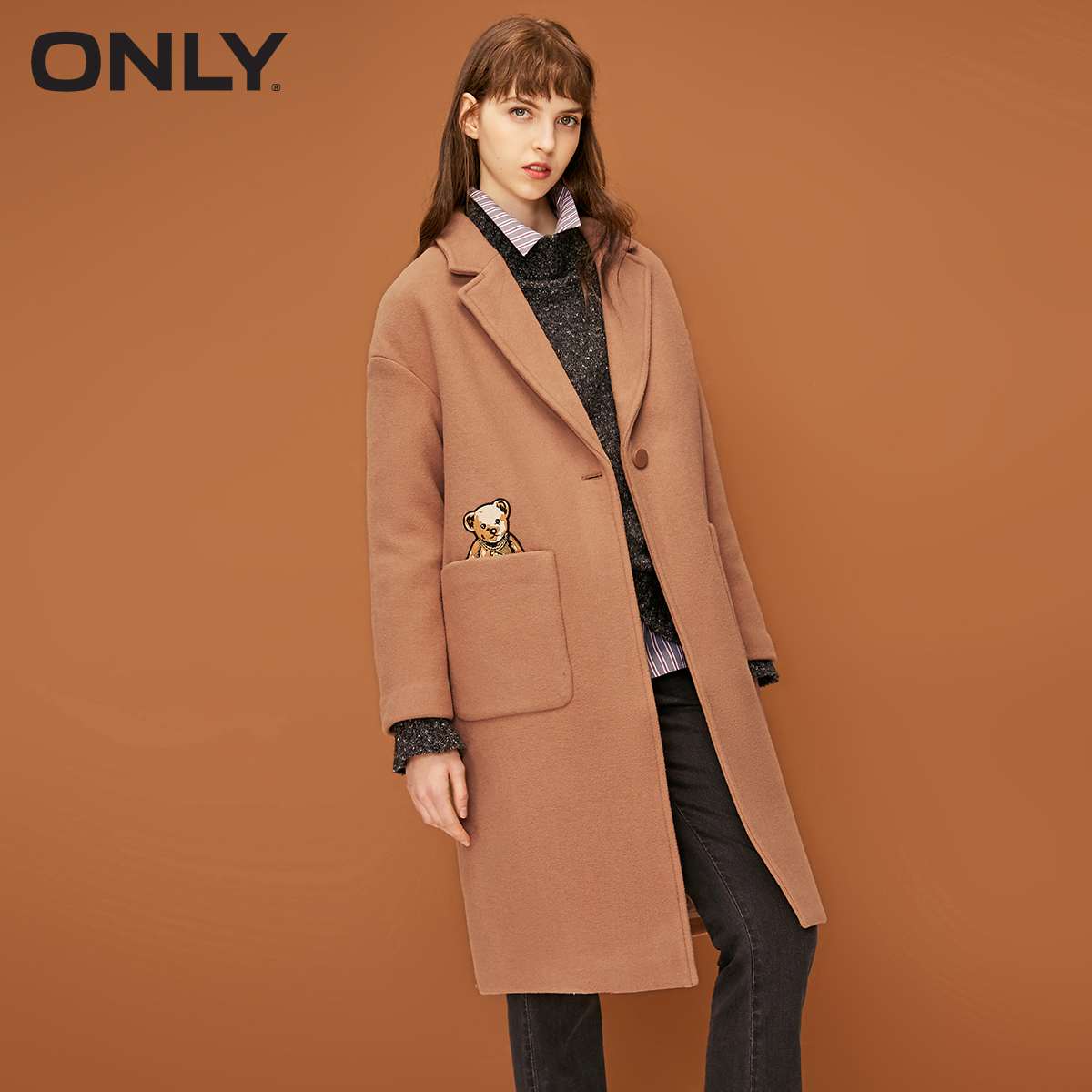 ONLY Women's Autumn New One Button Straight Woolen Coat | 11834S542