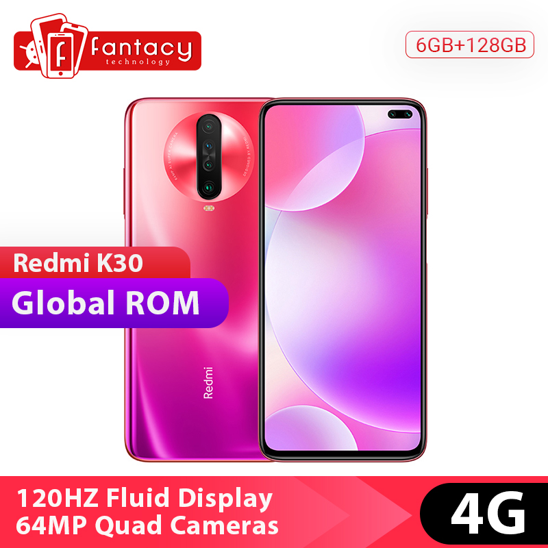 Global Rom Xiaomi Redmi K30 4G Snapdragon 730G 6GB 128GB Mobile Phone Octa Core 120HZ Fluid Display 6.67 Full Screen 27W 4500mAh