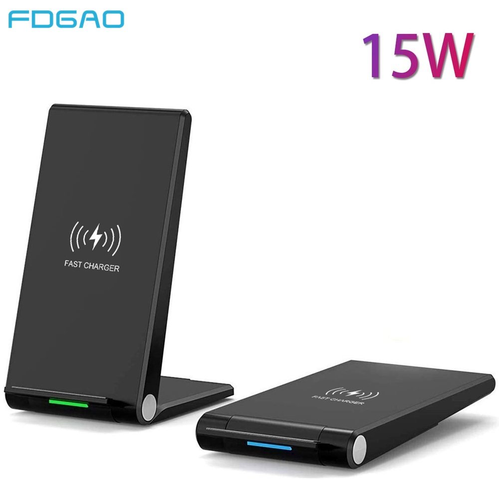 FDGAO 15W Qi Wireless Charger Fast Charging Stand Base Pad For iPhone 11 pro X XR XS Max Samsung Galaxy S9 S10 Plus S10e Note 10