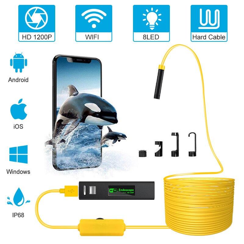 Беспроводная Инспекционная камера 2,0 MP 1200P HD эндоскоп камера водонепроницаемая трубка змеиная камера с 8 светодиодными лампами для IOS Android PC
