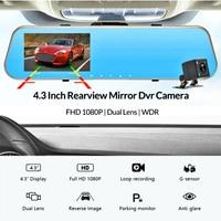 Ultron Era Vehicle Dashcam Full HD 1080P Car Dvr Auto 4.3 Inch Rearview Mirror Digital Video Recorder Dual Lens Dash Camera