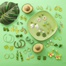3 # pendientes de flores acrílicas de fruta de aguacate populares Vintage de Metal verde pendientes geométricos irregulares joyería de fiesta de mujer Brincos