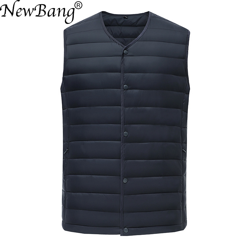 NewBang Brand Men's Waistcoat Ultra Light Cotton Vest Men Without Collar Waterproof Sleeveless Warm Liner Male Slim Gilet