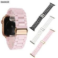 Розовый керамический ремешок для наручных часов Apple Watch, версии 5 4 3 2 1 заменить Браслет w адаптеры для наручных часов iWatch, 44/40/42/38 мм браслет