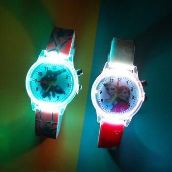 Новинка, мультяшный светильник, детские часы для мальчиков с резиновым ремешком, милые детские часы принцессы для девочек, светильник reloj infantil