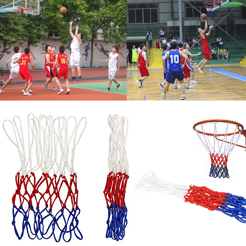 Durable Standard Nylon Basketball Net Sports Basketball Hoop Mesh Three Color Universal Basketball Net White Red Blue