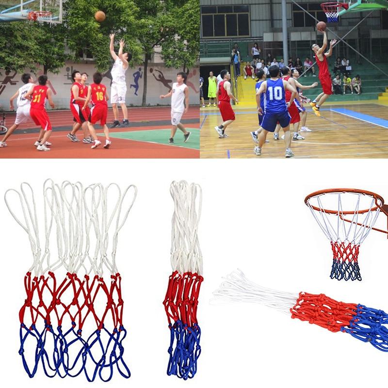 Durable Standard Nylon Basketball Net Sports Basketball Hoop Mesh Three Color Universal Basketball Net White Red Blue