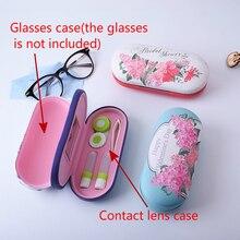 2019 new  Dual-use Myopic Glasses Box Contact Lens case Kit Dual Purpose Originality handmade Leather Reading Case