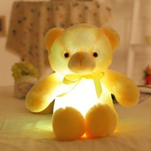 Bow-Tie Luminous-Toy Soft And with Led-Device Children's-Day-Gift Bear-Doll Interior