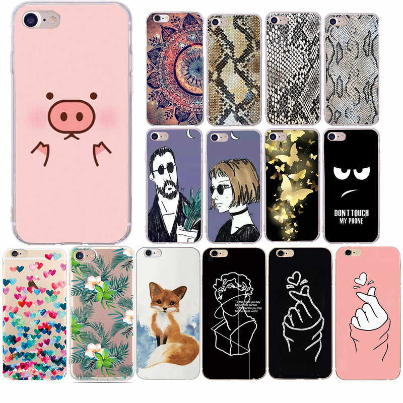 Telefoon Case Voor iPhone 6 6s 7 8 Plus X 5S SE 5 XR XS Max Cartoon Liefde hart Paar Silicon Soft TPU Voor iPhone 7 Telefoon Case