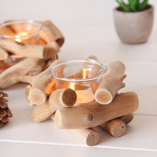 1pc Natural Wooden Candle Holder Tealight Candlestick Festival Supply Christmas Wedding Candleholder Home Decor Ornament Gifts