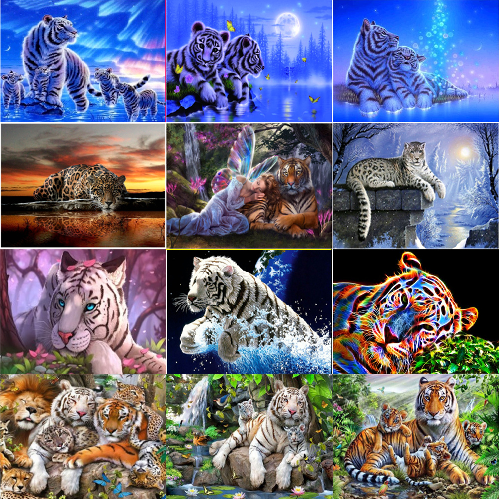 animals diamond painting white tiger decal diamant mosaic beads puzze picture decor sticker mother child daimand embroidery cross stitch art