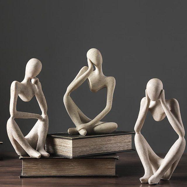 VILEAD Nordic Abasract Thinker Statue Resin Figurine Office Home  Decoration Desktop Decor Handmade Crafts Sculpture Modern Art 4
