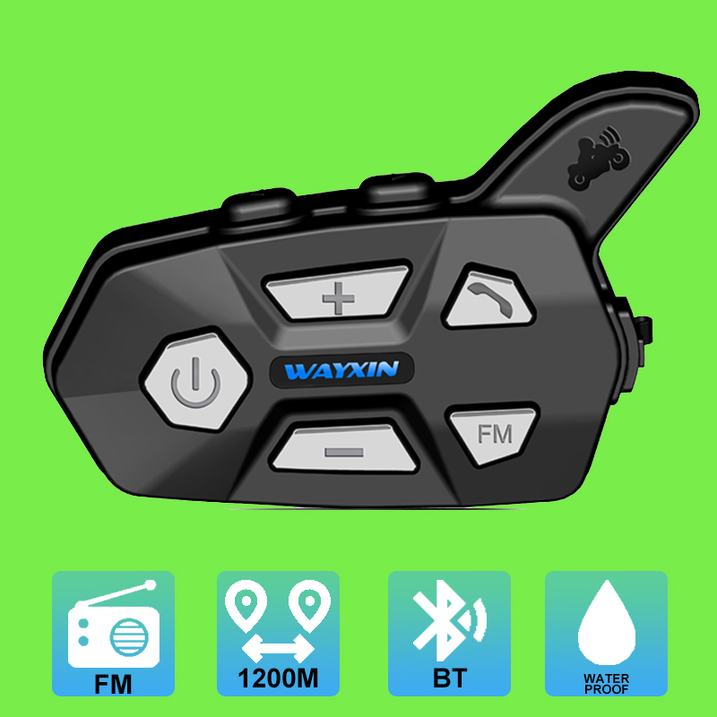 Motorcycle Intercom 1200M Bluetooth Helmet Interphone Headset Waterproof Wireless Bluetooth Moto Headset Interphone FM