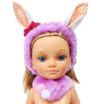 1 zestaw śliczne fioletowy pluszowa opaska uszy królika włosów akcesoria apaszka ubrania akcesoria dla Nancy Doll 16 Cal...
