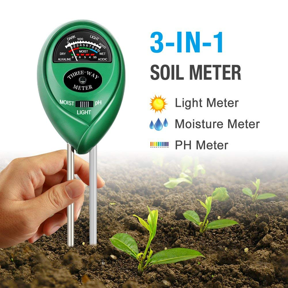 Soil PH Meter 3-in-1 Soil Tester Kits With Moisture Light And PH Test For Garden Farm Lawn, Indoor & Outdoor (No Battery Needed)