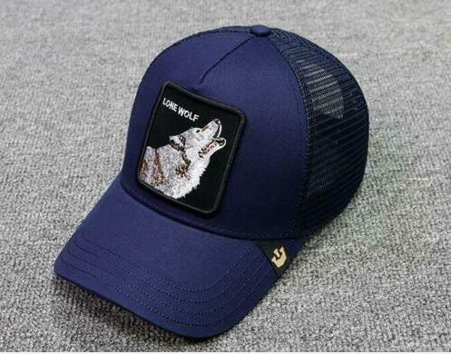 NEW Goorin. Animal Farm Trucker Snapback Baseball Hat  Embroidery LONE WOLF- BLUE
