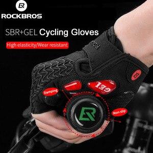 Image 1 - ROCKBROS gants de cyclisme pour hommes, avec enflure de la moitié des doigts, antidérapants, accessoires de sport, vtt, Fitness ou faire du Gym, collection VTT