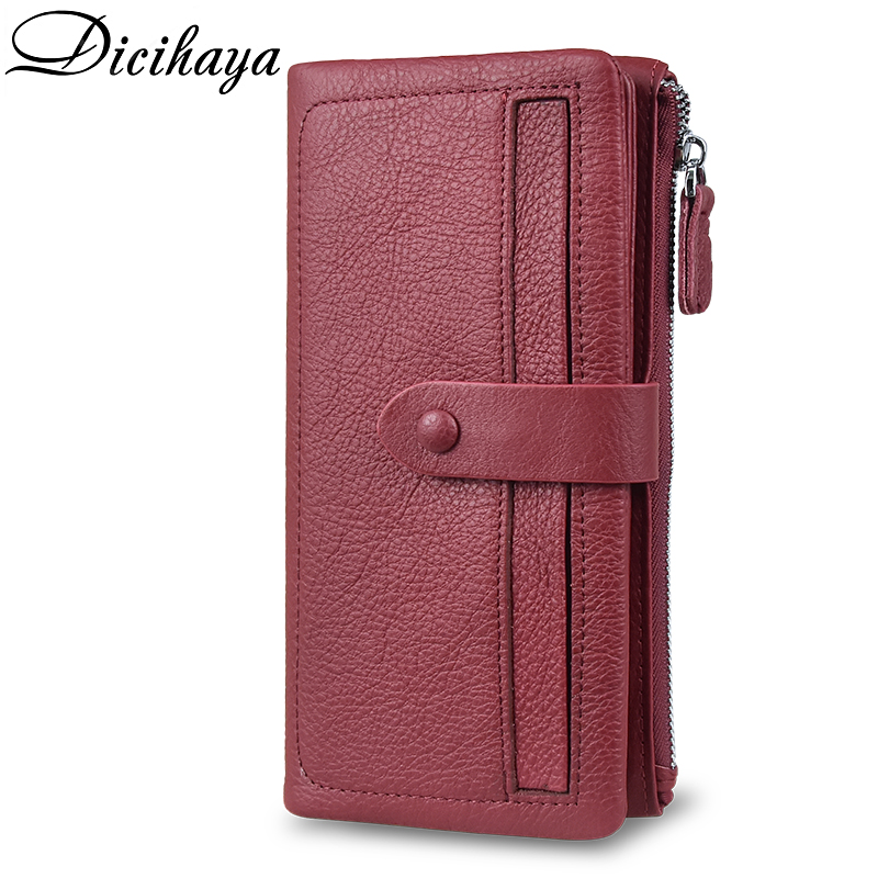 DICIHAYA Hot Sale Women Clutch Genuine Leather Wallet Female Long Wallet More Card Women Zipper Purse Money Bag Purse Phone Bag
