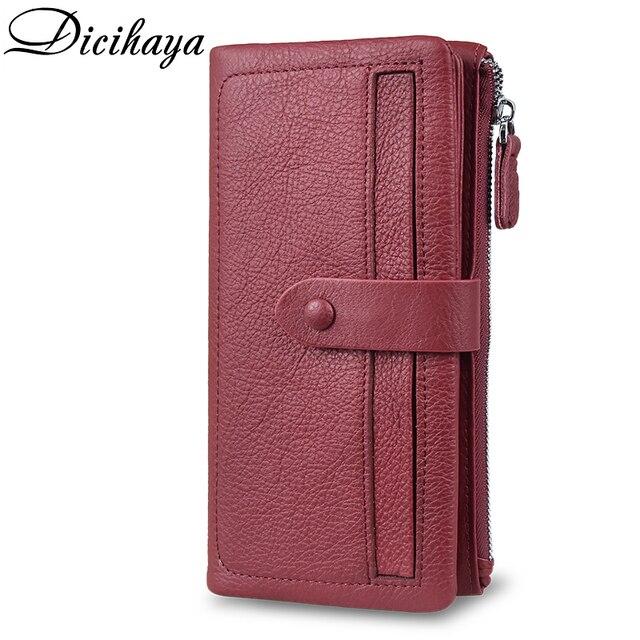 Dicihaya ホット販売の女性のクラッチ革財布女性長財布よりカード女性ジッパー財布マネーバッグ財布電話バッグ