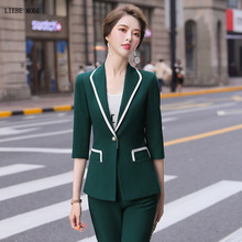 2020 Summer Office Formal Pants Suit Women Half Sleeve Blazer and Pants Set for Women Solid Green Pink Red 2 Piece Pantsuit 4XL