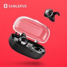 سماعات رأس لاسلكية من SANLEPUS مزودة بتقنية البلوتوث وسماعات أذن صغيرة مزدوجة TWS 5.0 مع ميكروفون للهواتف وشاومي وسامسونج