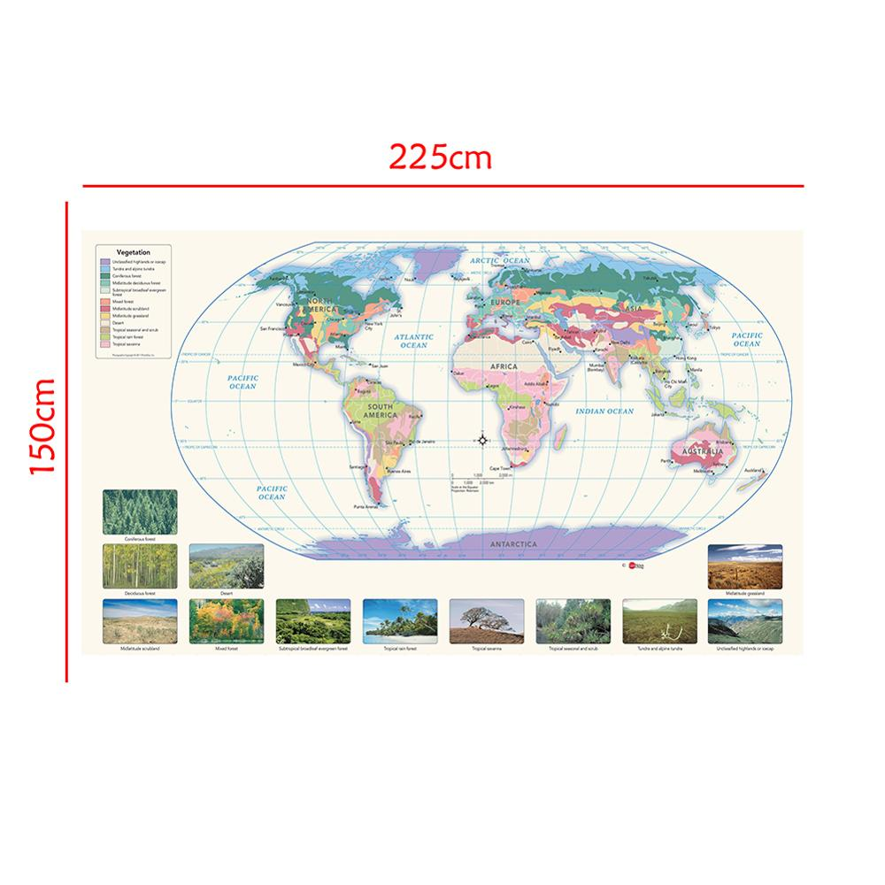 150x225cm The World Non-woven Spray Painting Map With Vegetation Species Distribution Map For Education