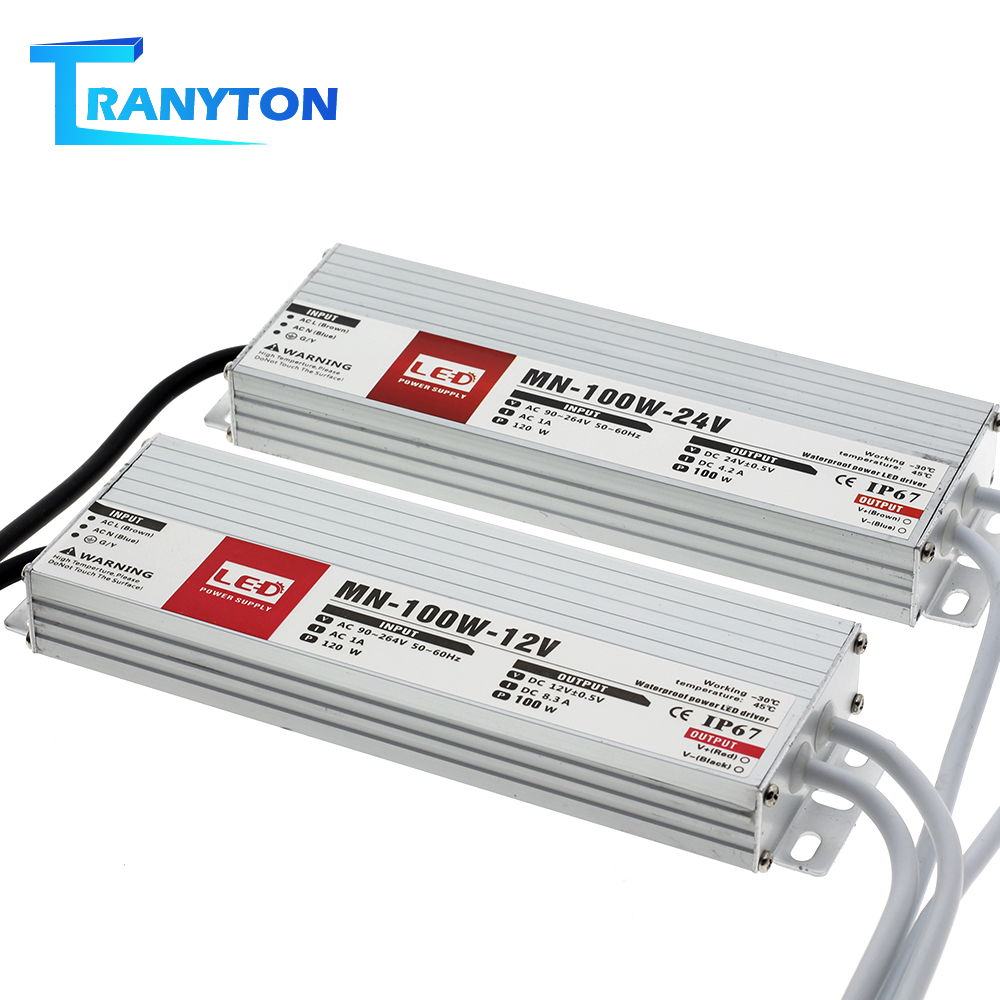 LED sürücü DC12V 24V IP67 su geçirmez aydınlatma Transformers dış mekan aydınlatması için 12V güç kaynağı 10W 20W 30W 45W 60W 100W 150W 200W