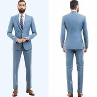 Wedding Men Suits Slim Fit Bridegroom Tuxedos Two Pieces Groomsmen Suit Formal Business Jackets(Pants+Jacket+ Handkerchief)