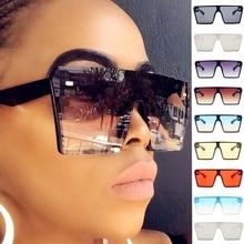 Mirror Shades Gradient Sunglasses Square Oversized Eyewear Big-Frame Vintage Women UV400