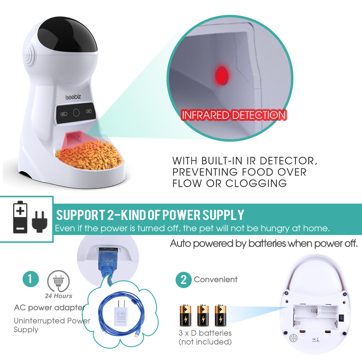 Appliance - Wifi Automatic Pet Feeder 3L Pet Food Dispenser Feeder Medium and Large Cat Dog 4 Meal Voice Recorder and Timer