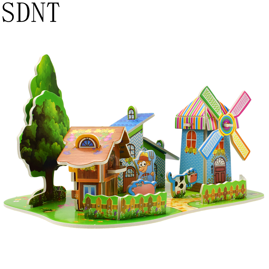3D Puzzles Kids Educational Toys DIY Cute Animal House Rainbow Cardboard Building Model Creative Toys For Children Hobbies Gift