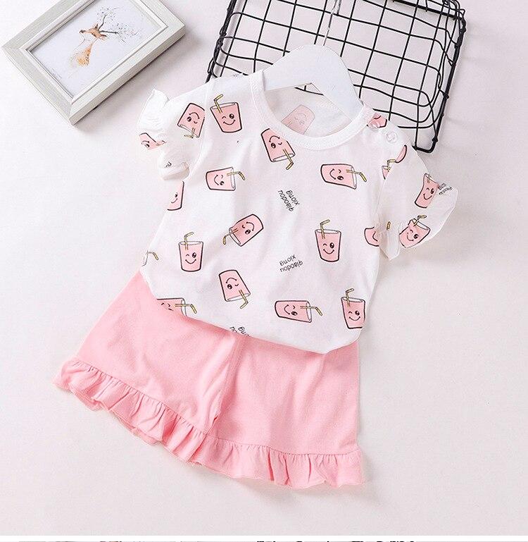 Летний детский комплект одежды для девочек комплекты с мультипликационным