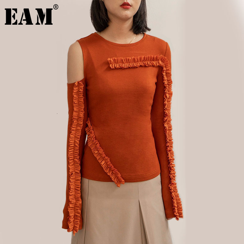 [EAM] Ruffless Off Shoulder Knitting Sweater Loose Fit Round Neck Long Sleeve Women New Fashion Tide Spring Autumn 2020 1D324
