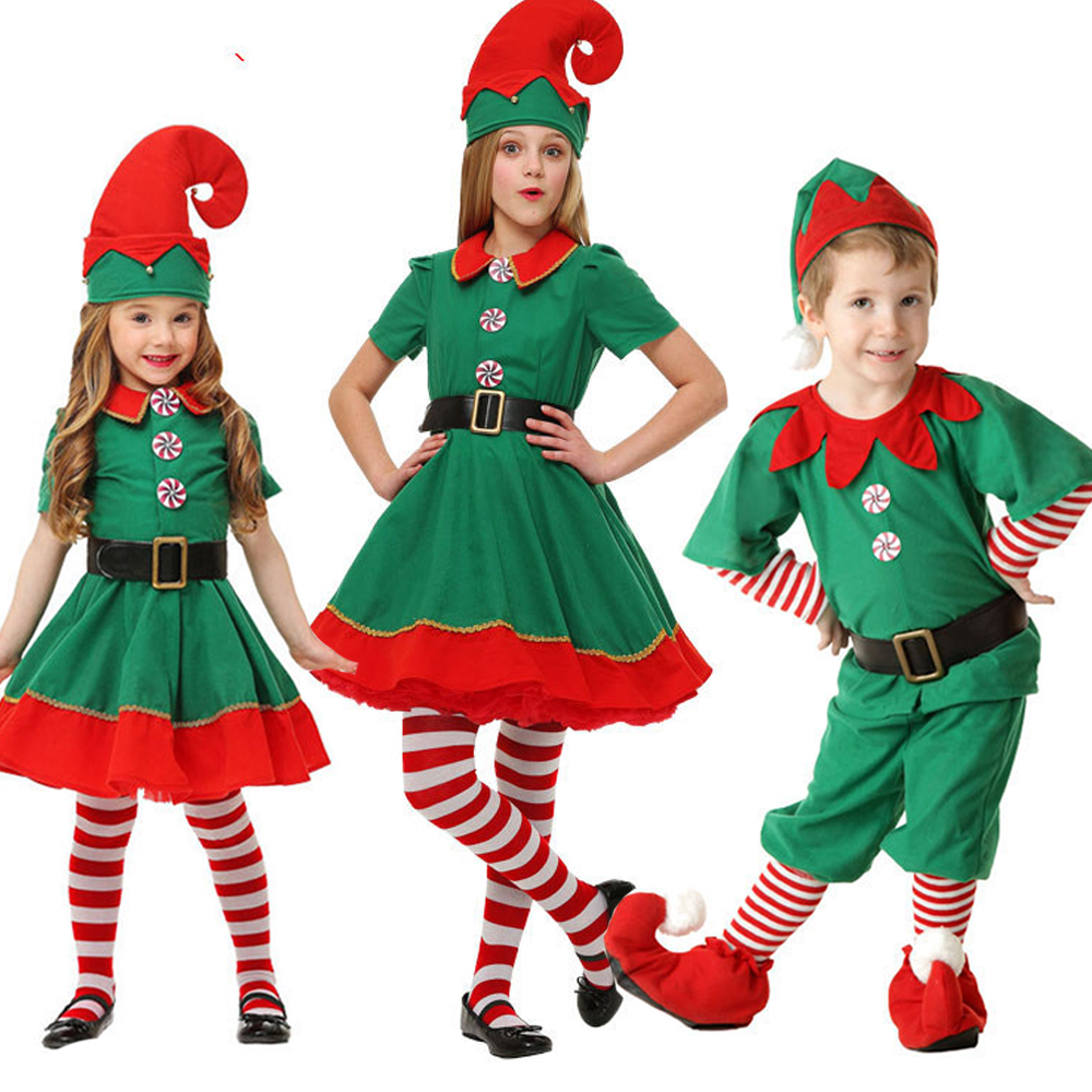 2019 Women Men Boy Girl Christmas Santa Claus Costume Kids Adults Family Green Elf Cosplay Costumes Carnival Party Supplies