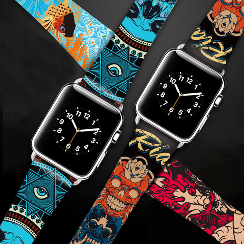 Hip-hop Genuine Leather Band For Apple Watch 38mm 40mm 42mm 44mm Van Gogh Art Printing Bracelet Strap For Iwatch Series 5 4 3 2