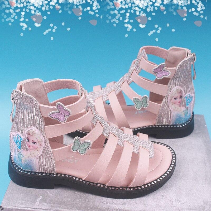 Kid Shoes Children Fashion Princess Sandals Girls Candy Color Led Light Cartoon Roman Sandals Breathable & Lightweight Shoes