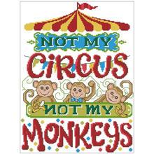 Not my monkey patterns counted cross stitch 11ct 14ct 18ct diy