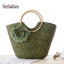 Straw handbags purses multi color bag  women shopping straw Round handle Dumpling shaped Flowerz beach Zipper handbag