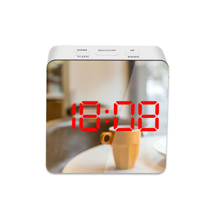 LED Mirror Alarm Clock Digital Snooze Table Clock Wake Up Light Electronic Large Time Temperature Display Home Decoration Clock 11