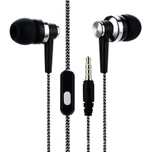 2020 New Mobile phone with wheat wire earphone in-ear braided wiring cord universal music subwoofer headphone headset anti skid in ear music headphone nylon wired earphone with braided wiring cord cable wire control subwoofer headset with wheat