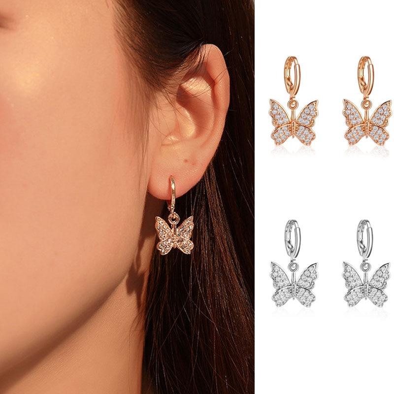 New Women's Earrings Fashion Zircon Butterfly Dangle Earrings For Women Animal Sweet Colorful Drop Earrings Girls Jewelry