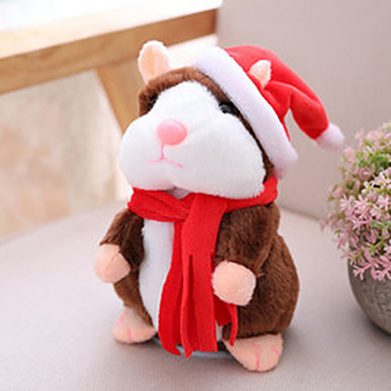Electronic Plush Toy Repeats What You Say Cheeky Hamster Electric Talking Walking Cute Mimicry Pet Christmas Funny Speak Record