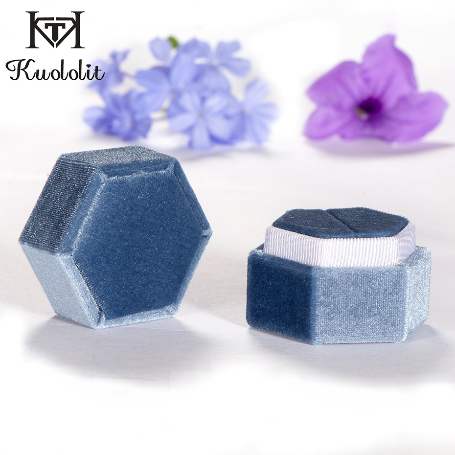 Kuololit Velvet Hexagon Ring Box For Women Ring Jewelry Boxes For Wedding Bridal Blue Pink Green Organizer Boxes Customize Logo