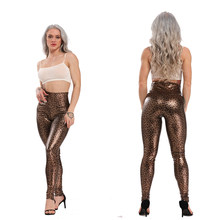 Mode Hohe elastizität Faux leder hohe taille leopard print elastische band weibliche casual hosen fitness sport leggings(China)