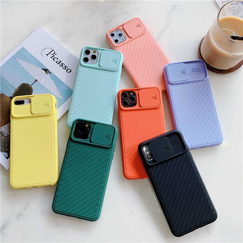 Caso de telefone para apple iphone 11 pro x xr xs max 6s 7 8 plus lente protetora sliding caso do telefone silicone macio caso escudo capa