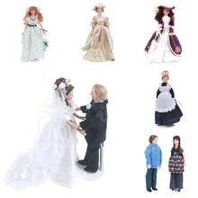 1:12 miniatura Multi-tema Mini Modelo Boneca Vitoriano Senhora Verde/Empregada Doméstica/a Noiva Eo Noivo Decoração de casa de Bonecas