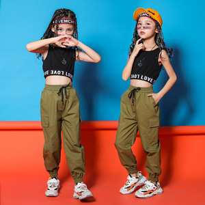 Children Hip Hop Clothing Black Top Crop Vest Running Casual Pants for Girls Jazz Dance Costumes Ballroom Dancing Clothes Wear