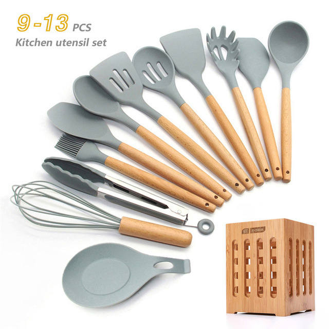 Silicone Cookware Set, Non-stick Spatula Wooden Handle with Storage Box